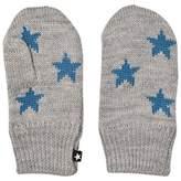 Molo Grey Blue Star Snowfall Mittens
