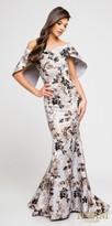 Terani Couture Off the Shoulder Floral Print Capelet Evening Dress