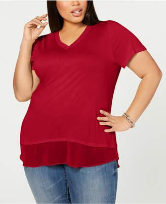 INC International Concepts Inc Plus Size Short-Sleeve V-Neck Tunic