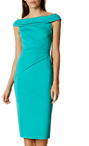 Karen Millen Bardot Shoulder Pencil Dress, Blue Multi