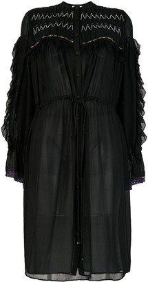 Koché Ruffled Silk Shirt Dress