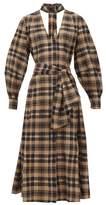 Ganni Checked Cotton-seersucker Midi Dress - Womens - Beige