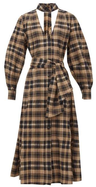 Ganni Checked Cotton Seersucker Midi Dress Womens Beige