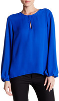 Ellen Tracy Split Neck Bishop Sleeve Blouse
