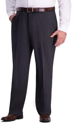 Haggar Big & Tall J.M. Premium 4-Way Stretch Classic-Fit Hidden Expandable Waistband Flat-Front Dress Pants