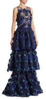 Marchesa Tiered Embroidered Gown
