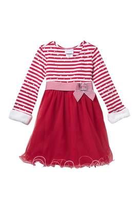 Gerson & Long Sleeve Faux Fur Trimmed Tulle Tutu Dress (Little Girls)