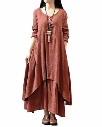 Taigood Womens Vintage Boho Dress Casual Irregular Maxi Dress Cotton Linen Loose Long Sleeve Layers Linen Fashion Dress Brick Red 5XL