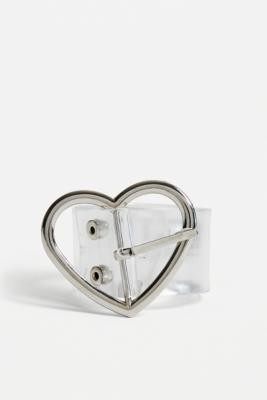 Urban Outfitters Heart Buckle Plastic Belt - Clear M at