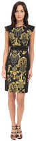 Versace Black and Gold Patterened Dress w/ Studded Sleeve Detail