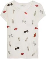 Alice + Olivia Robin crystal-embellished linen T-shirt
