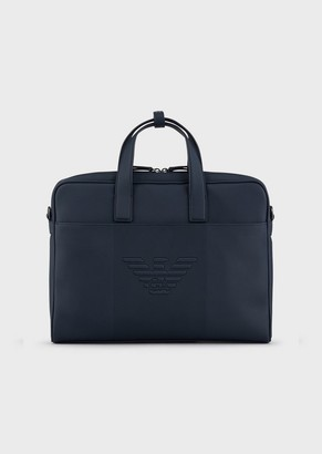 Emporio Armani Satchel With Embossed Eagle Logo And Shoulder Strap