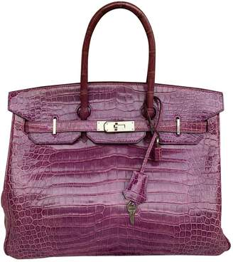 Hermes Birkin 35 Pink Crocodile Handbags