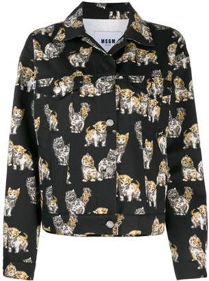 MSGM kitten print trucker jacket