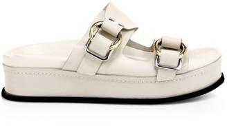 3.1 Phillip Lim Freida Buckle Leather Flatform Sandals