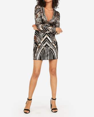 Express Geometric Sequin Long Sleeve Deep V Mini Sheath Dress