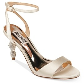 Badgley Mischka Women's Evamarie Crystal Embellished Kitten Heel Sandals