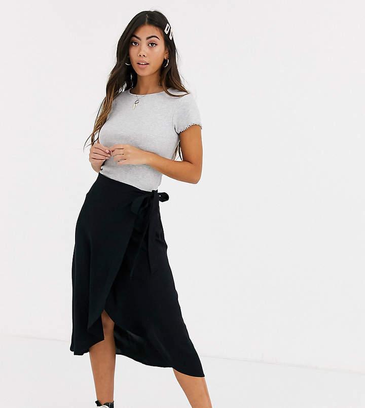New Look Petite wrap midi skirt in black