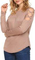 Bluetime Women's Fashion Crew Neck Cold Shoulder Top Casual Tee Shirt Cotton Blouses (L, )