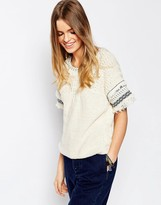 Asos Knitted Tee In Stitch With Fringing