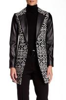 Insight Geometric Print Faux Leather Trim Jacket