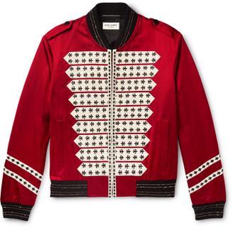 Saint Laurent Embellished Satin Bomber Jacket