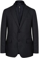 Pal Zileri Navy Wool And Silk Blend Blazer