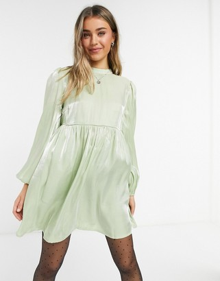 Lola May smock dress with volume sleeves in sage green