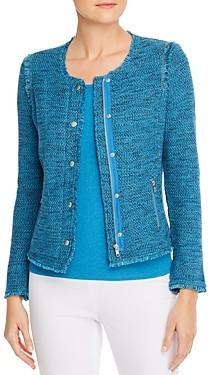 Nic+Zoe Petites Fringe Trimmed Marled Knit Sweater Jacket