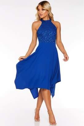 Quiz Womens Sequin Lace High Neck Hanky Hem Dress - Blue