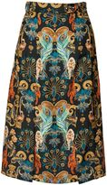Matthew Williamson Regal Monkey Black Midi Skirt