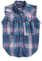 Blank NYC Girl's Blanknyc Sleeveless Plaid Shirt
