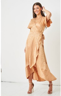Love Frontrow Jacquared Leopard Print Angel Sleeve Wrap Dress | Gold