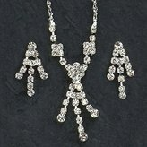 Gc Handcrafted Silver and Crystal Dangle Design Necklace and Earrings Set