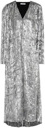 Balenciaga Pleated silk metallic midi dress