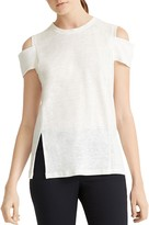 Halston Cold-Shoulder Linen Tee
