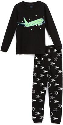 Elowel Boys' Sleep Bottoms Black - Black Airplane Glow-in-the-Dark Pajama Set - Toddler & Boys