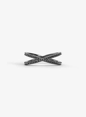 Michael Kors Black Rhodium-Plated Sterling Silver Pave Nesting Ring