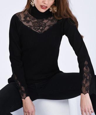 Milan Kiss Women's Blouses BLACK - Black Floral Lace Turtleneck - Women