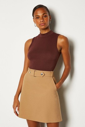 Karen Millen Cinch Waist A-Line Mini Skirt