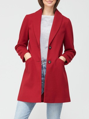 Dorothy Perkins Minimal Shawl Collar Coat - Red
