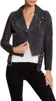 Vigoss Asymmetrical Zip Suede Leather Jacket