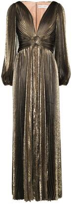 Oscar de la Renta metallic pleated V-neck gown