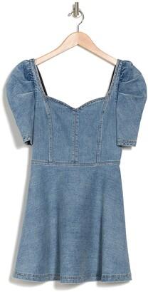 Alice + Olivia Maribel Puff Sleeve Fit & Flare Denim Dress