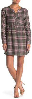 Love, Fire Plaid Flannel Long Sleeve Dress