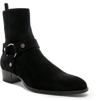 Saint Laurent Suede Wyatt 40 Harness Boot in Black | FWRD