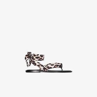 Ganni Brown Leopard Print Wrap Sandals