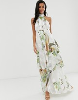 Asos Design DESIGN high neck tiered maxi dress in sheer and solid stripe in pretty floral