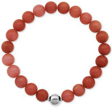Macy's Silver-Tone Faceted Bead Red Stone Stretch Bracelet