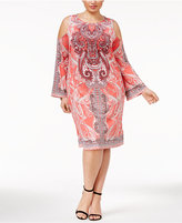 INC International Concepts Plus Size Printed Cold-Shoulder Dress, Only at Macy's